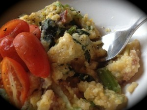 Prepared polenta with Swiss chard, pastured beef bacon and field garlic