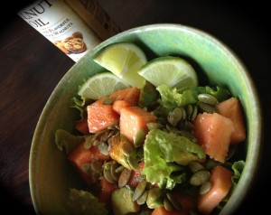 Papaya, avocado, pumpkin seeds and cayenne topping fresh greens from our spring garden.  Absolutely heavenly drizzled with walnut oil and fresh lime juice.