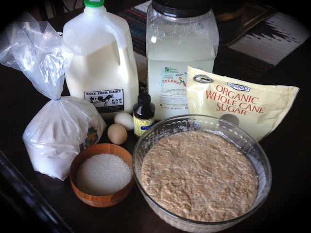 All the ingredients for soaked and cultured pancakes--delicious and nutritious!