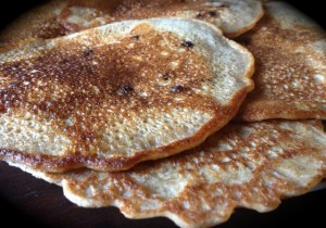 Delicious cultured and sprouted spelt pancakes, cooked in pastured beef tallow and filled with organic blueberries